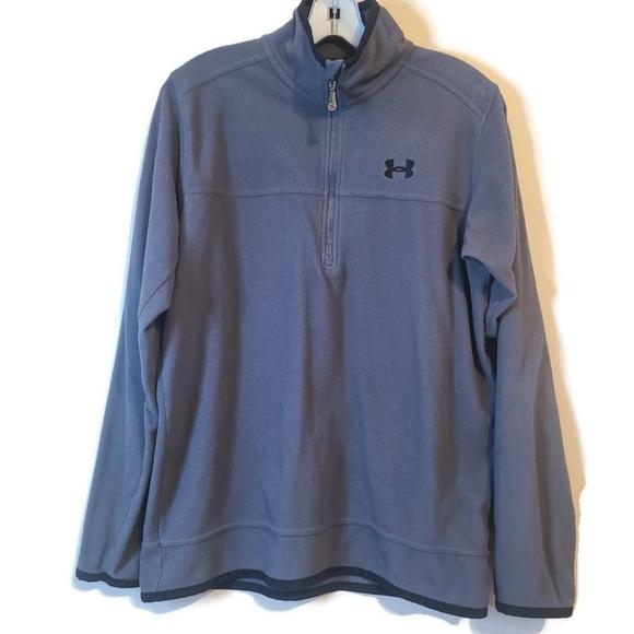 Under Armour 1/4 Zip Fleece Pullover Mens Medium Light Weight Jacket Top Gray